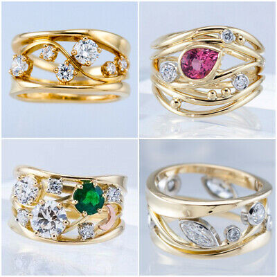 £2.83 • Buy 18k Yellow Gold Plated Rings Cubic Zircon Women Jewelry Fashion Rings Size 6-10