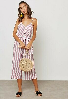 £11.99 • Buy New Miss Selfridge PETITE Striped Front Belted Cropped Linen Jumpsuit RRP £39