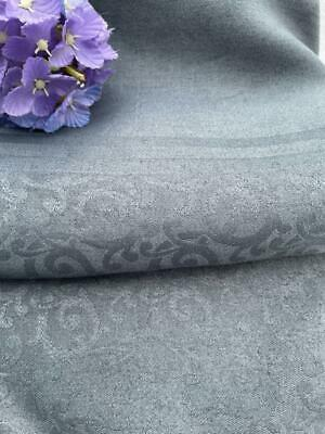 £48 • Buy Vintage French Linen Damask Tablecloth Fabulous Pewter Colour & Condition