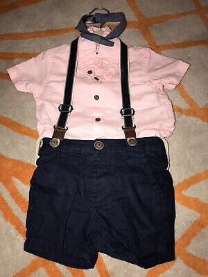 £10 • Buy Next Baby Boys 3-6Months Shirt And Dungaree Outfit Wedding Suit Bow Tie
