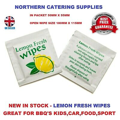 £3.97 • Buy Wet Hand Wipes Disposable Individual Wrapped Lemon Fresh Hot   Cold Small