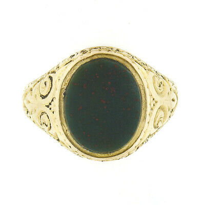 £670.48 • Buy Antique 18k Yellow Gold Oval Bloodstone W/ Engraved Repousse Work Signet Ring