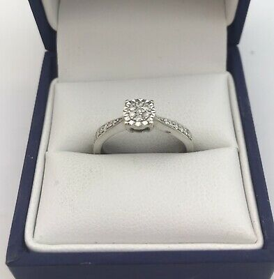 AU157.63 • Buy Pretty 9ct White Gold & Diamond Cluster Ring. Size M1/2. 0.15 Carats