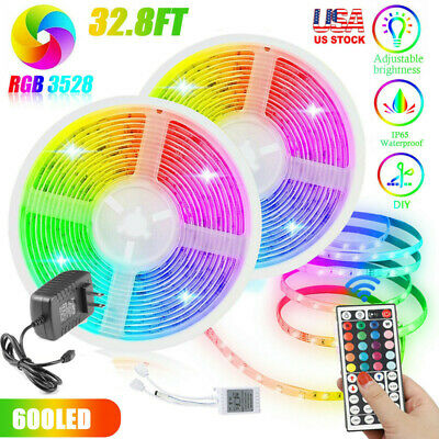 $14.99 • Buy 32FT Flexible 3528 RGB LED SMD Strip Light Remote Fairy Lights Room TV Party Bar