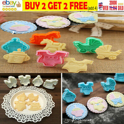 £0.99 • Buy 4-20pcs Baby Shower Clothes Cookies Plunger Cutter Mould Fondant Cake Biscuit -q