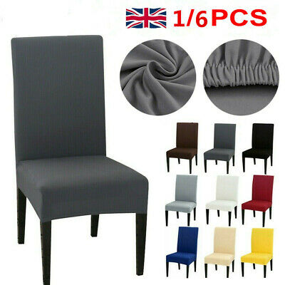 £2.99 • Buy UK 1/6PCS Dining Chair Seat Covers Slip Stretch Wedding Banquet Party Removable~