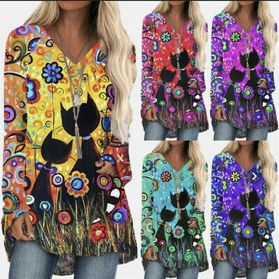 £9.99 • Buy Womens Long Sleeve Print T Shirt Blouse Ladies V-Neck Casual Loose Pullover Tops