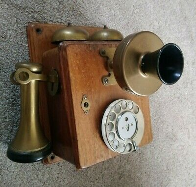 £124.99 • Buy Antique Wall Mounted Telephone, Possibly French, Oak Brass Bakelite