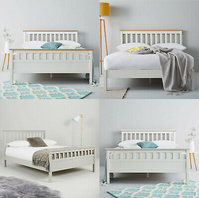 £109.98 • Buy Littlewoods Dawson White Grey Solid Wood Double Bed Frame Traditional 4' & 4'6