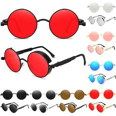 AU7.34 • Buy Mens Polarized Steampunk Sunglasses Round Summer Holiday Beach Casual Glasses