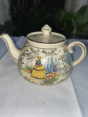 £10 • Buy Vintage Gibsons Staffordshire England Porcelain Teapot Gold White Floral Daisy