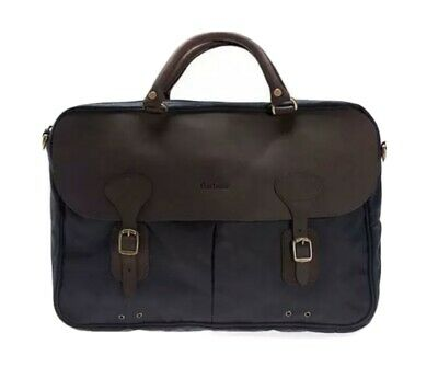 £99 • Buy Barbour Wax And Leather Briefcase Navy Bag Messenger One Size