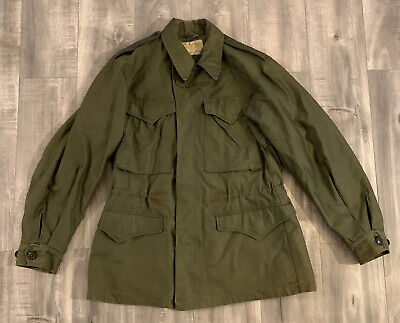 $150 • Buy Vintage 40s US Military M-1943 Green Field Jacket WWII Button Front Size 34R