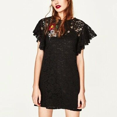 £4.99 • Buy Zara Trafaluc Black Lace Mini Dress With Embroidered Patch, S