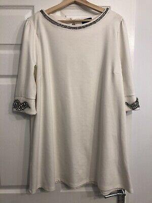 £1.20 • Buy Topshop Size 16 White A Line Long Sleeve Dress With Embellished Detail