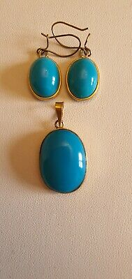 £195 • Buy Antique 18ct Gold Turquoise Pendant And Earring Set