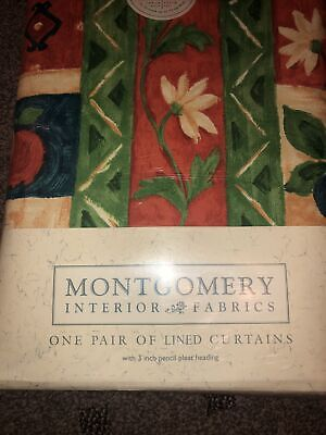 """£50 • Buy Lovely Vintage Curtains Montgomery Striped Floral Pattern 46"""" X 90""""New Jardinier"""