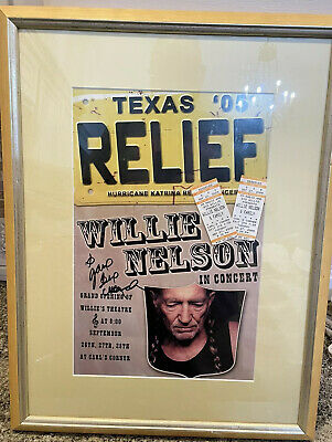 $250 • Buy Willie Nelson Signed Texas Relief 05 Hurricane Katrina Concert Poster + Tickets