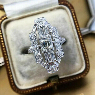 AU3.34 • Buy Creative 925 Silver Rings Cubic Zirconia Jewelry Women Engagement Ring Size 6-10