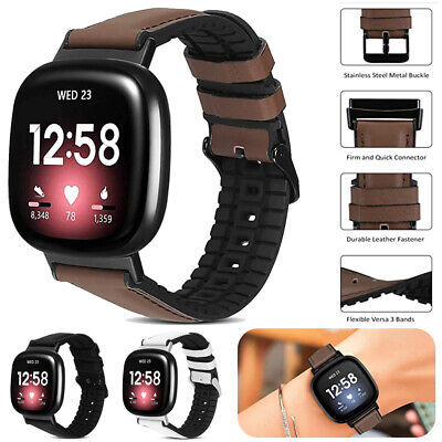 $ CDN12.68 • Buy For Fitbit Versa 3 (3 Gen) / Sense Leather & Silicone Watch Band Strap Buckle