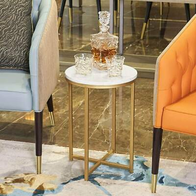 £24 • Buy Marble Side Table Gold Console Laptop Sofa Desk End Table Marble Top& Metal Base