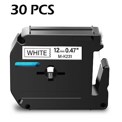 $81.99 • Buy 30PK M231 M-K231 MK231 Black On White 12mm Label For Brother P-touch PT-65