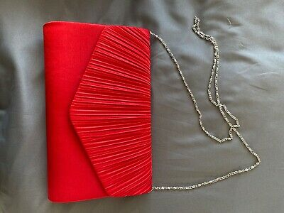 £5 • Buy Red Satin Clutch Bag New