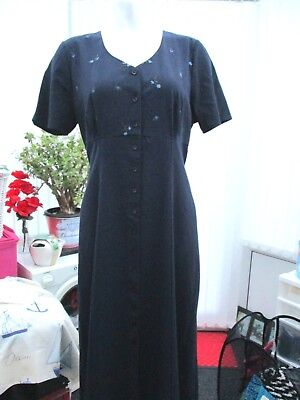 £15 • Buy  British Home Stores  Sz 18 Navy Dress With Embroidered Flowers