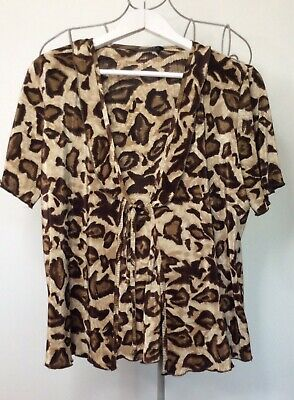 £1 • Buy Forever By Michael Gold, Beautif Ladies Size XL Leopardprint Top With Tie Detail