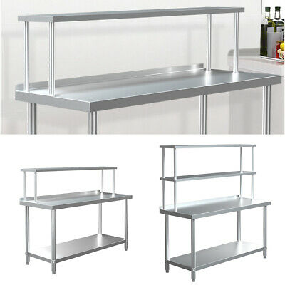 £89.95 • Buy Commercial Kitchen Stainless Steel Single/Double Tier Over Shelf For Prep Tables