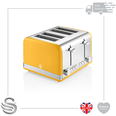 £49.99 • Buy Swan 4 Slice Retro Toaster 1600W Variable Browning Stainless Steel Auto Shut-off