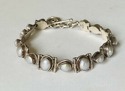 $129.99 • Buy Gorgeous Ocean Mabe Pearl 925 Sterling Silver Link Toggle Bracelet