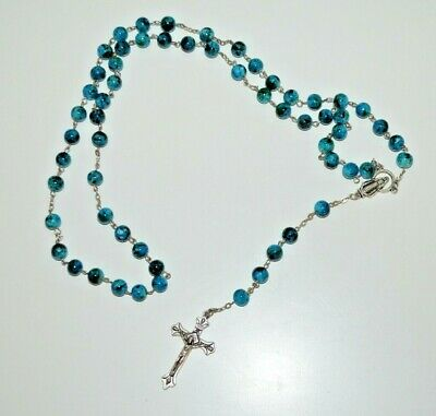 £6.99 • Buy Vintage Blue / Black Painted Plastic Beads Rosary, Italy