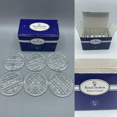 £19.99 • Buy Vintage Royal Doulton Finest Crystal Coasters Set Of 6 Cut Glass, Boxed