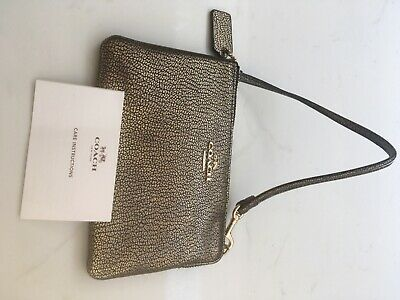 £10 • Buy Coach Small Leather Wristlet, Gold And Black Crackle Effect. Original Packaging.