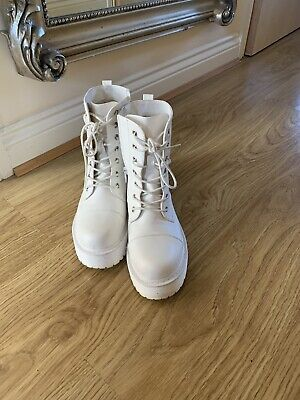 £26 • Buy White Chunky Platform Shoes Ladies Goth Punk Lace Up Ankle Boots Size 6
