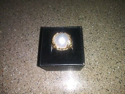 $415 • Buy BEAUTIFUL VINTAGE 14K YG MABE PEARL RING 8.09g Art Nouveau Freeform 14mm Dome