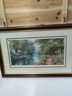 """£36 • Buy Terry Harrison Signed Print """"The Towpath Gate"""" Basingstoke Canal Crookham Hants"""