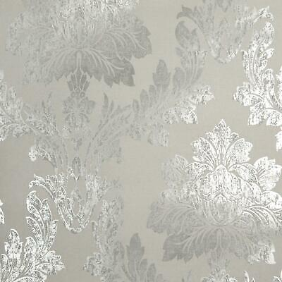 £9.99 • Buy Holden Decor Paulo Damask Wallpaper Floral Silver Taupe Metallic Paste The Wall