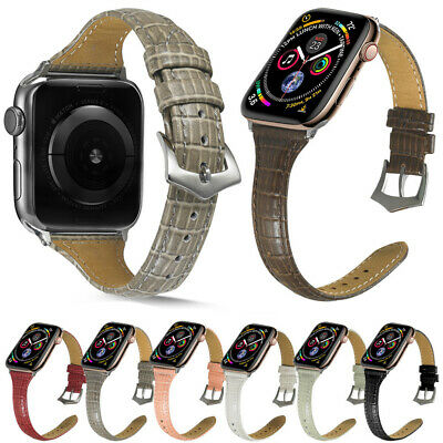 AU13.35 • Buy Slim Leather Band Strap For Apple Watch Series 6 5 4 3 2 SE 38mm 42mm 40mm 44mm