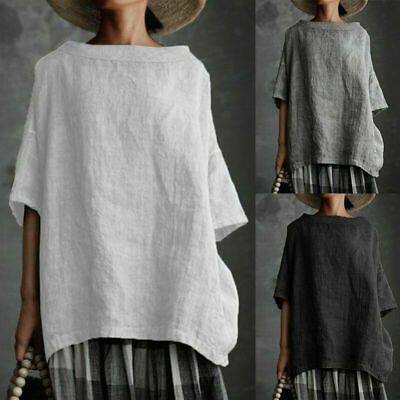 £9.79 • Buy Plus Size Womens Cotton Linen Loose Tee Top Ladies Summer Casual T Shirts Blouse