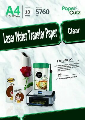 £7.99 • Buy Water Slide Decal Paper A4 LASER Waterslide Transfer Paper Clear - 5 Sheets