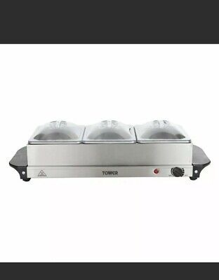 £32.99 • Buy Tower 3 Tray Buffet Food Warmer / Server - Stainless Steel