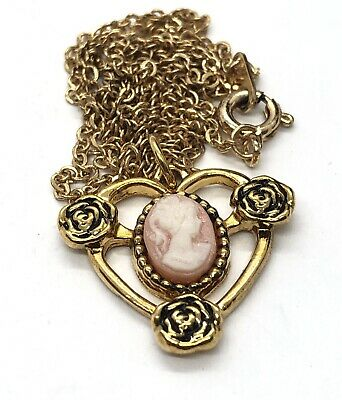 """£19.06 • Buy Vintage Necklace 18"""" Gold Tone Small Cameo Pendant Rose Flower"""