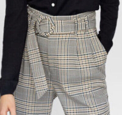 £5 • Buy Zara Checked Brown High Waisted Belted Trousers Size Xsmall Uk 8