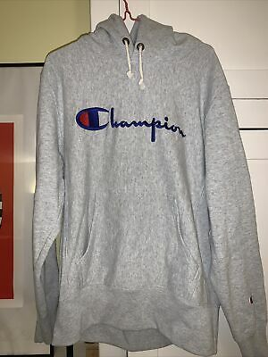 £6.50 • Buy Grey Champion Hoodie Large Mens With Blue Embroidered Logo