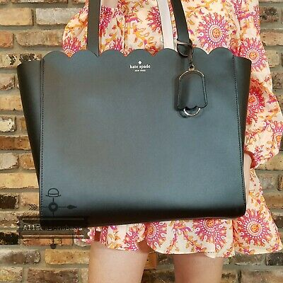 $ CDN249.66 • Buy Kate Spade Magnolia Tote Scalloped Black Shoulder Bag NWT AUTHENTIC Brand New