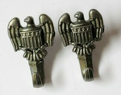 $12.50 • Buy Nice Pair Of Vintage Military Style American Eagle Wall Hooks - Built In Nail