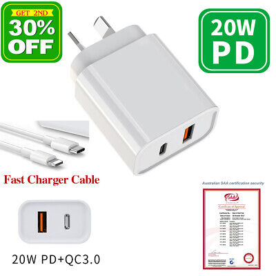 AU21 • Buy USB Wall Charger 20W PD/QC3.0 Fast Charging DualPort AU Plug Free IPhone Cables
