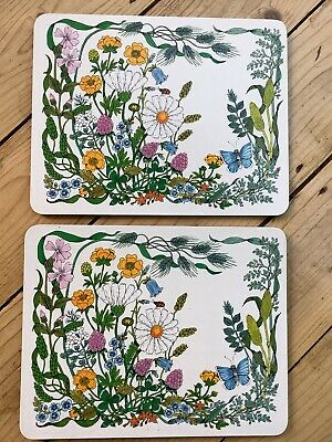 £5 • Buy Vintage Retro St Michael Melemine Cork Back Placemats Tablemats Wildflowers X 2
